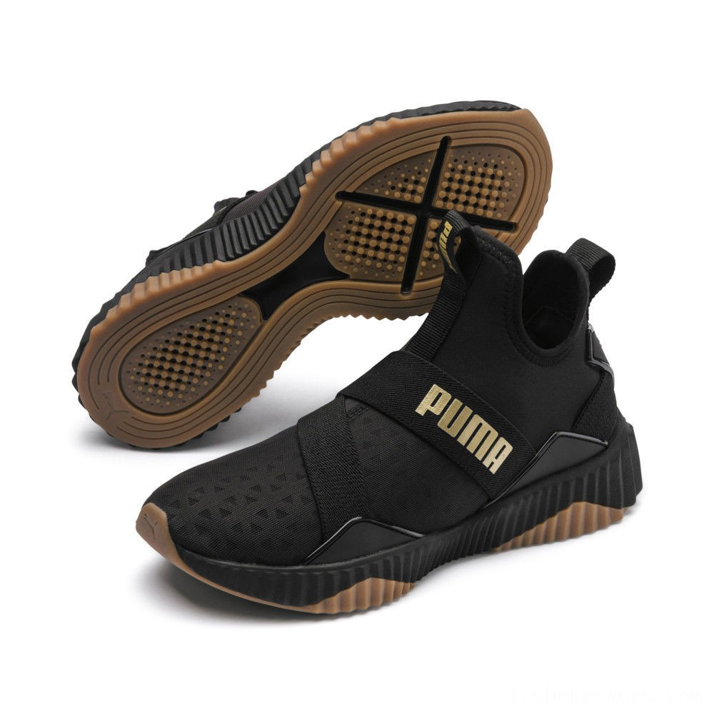 Black Friday 2020 Puma Defy Mid Sparkle Women's Training Shoes Black-Metallic Gold Outlet Sale