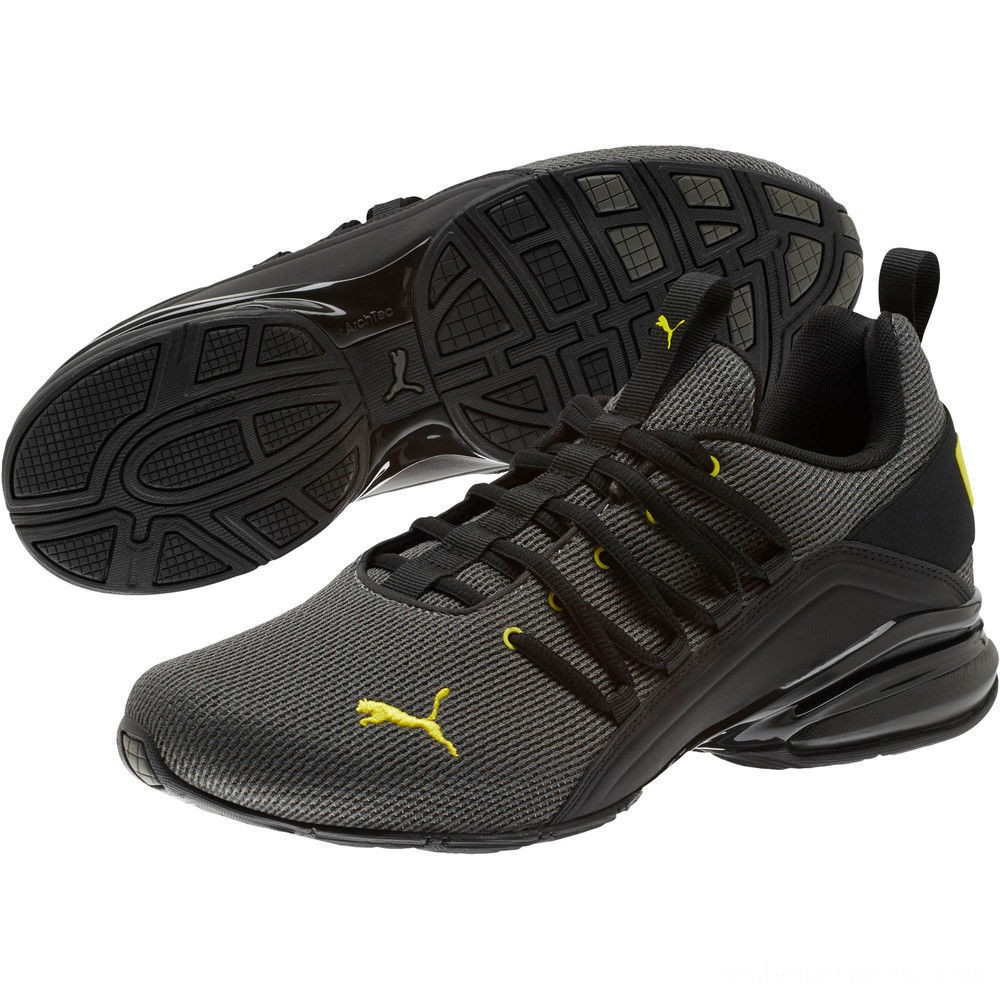 Black Friday 2020 Puma Axelion Mesh Sneakers Charcoal Gray-Blazing Yellow Outlet Sale