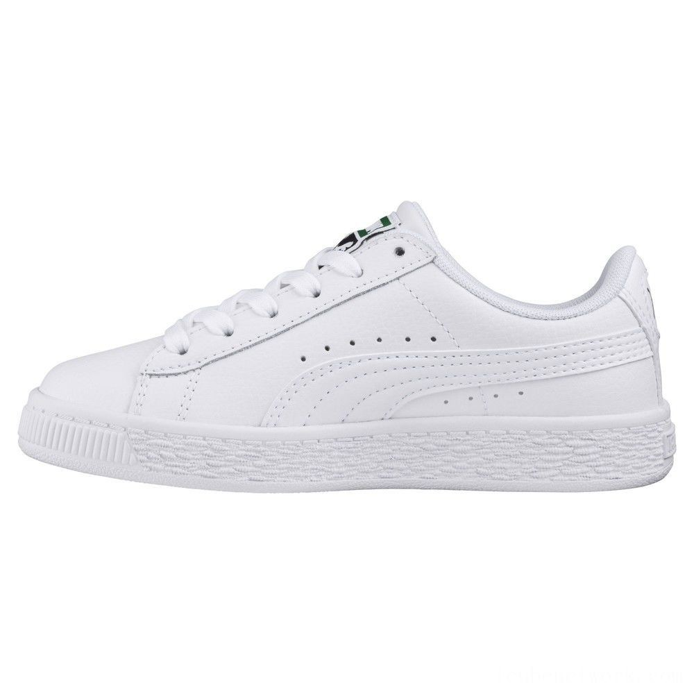 Puma Basket Classic JR Sneakers White- White Outlet Sale