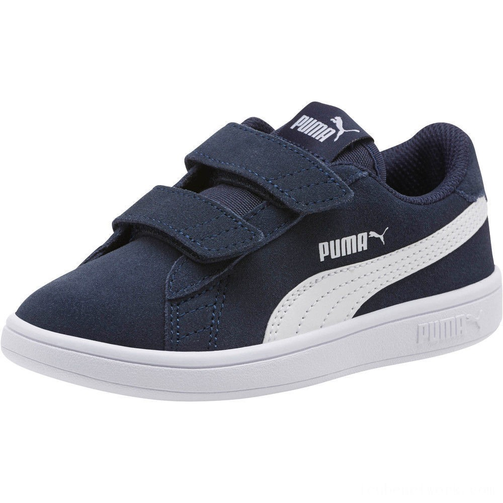 Black Friday 2020 Puma Smash v2 Suede Preschool Sneakers Peacoat- White Outlet Sale