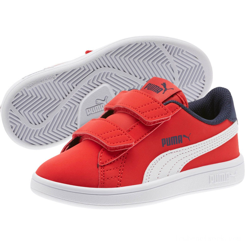 Puma PUMA Smash v2 Buck AC Sneakers PSHigh Risk Red-White-Peacoat Outlet Sale