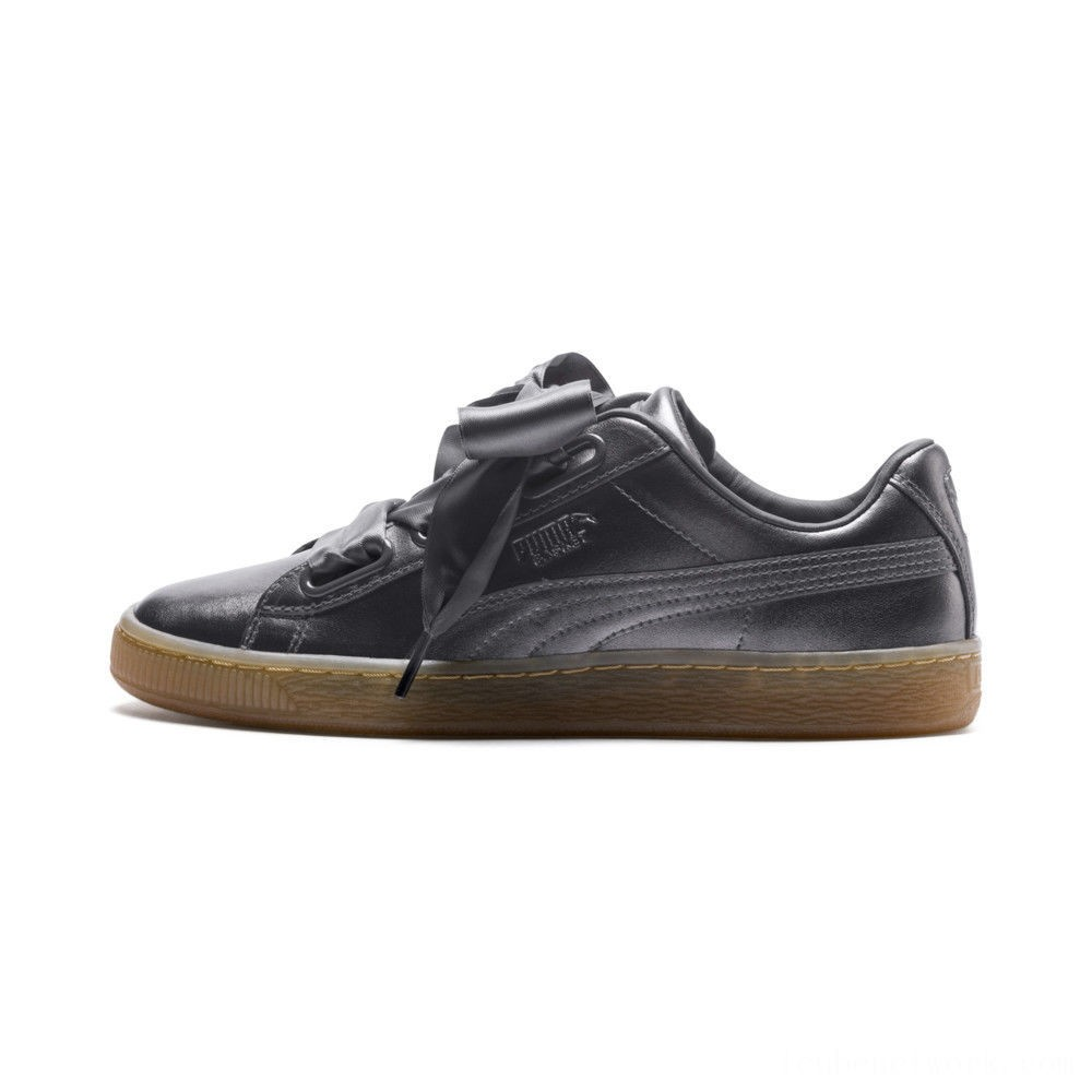Black Friday 2020 Puma Basket Heart Luxe Women's Sneakers QUIET SHADE-QUIET SHADE Outlet Sale