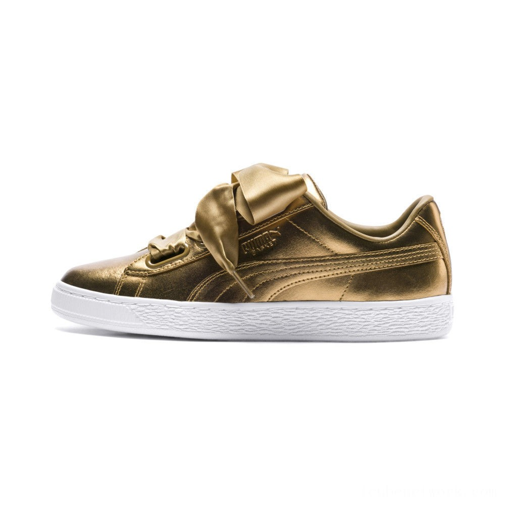 Black Friday 2020 Puma Basket Heart Luxe Women's Sneakers Ermine-Ermine Outlet Sale