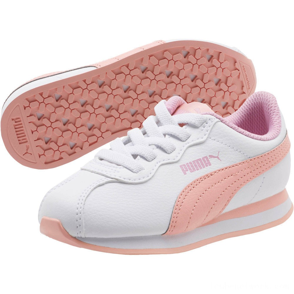 Puma Turin II AC Preschool Sneakers P.White-Peach Bud-Pale Pink Outlet Sale