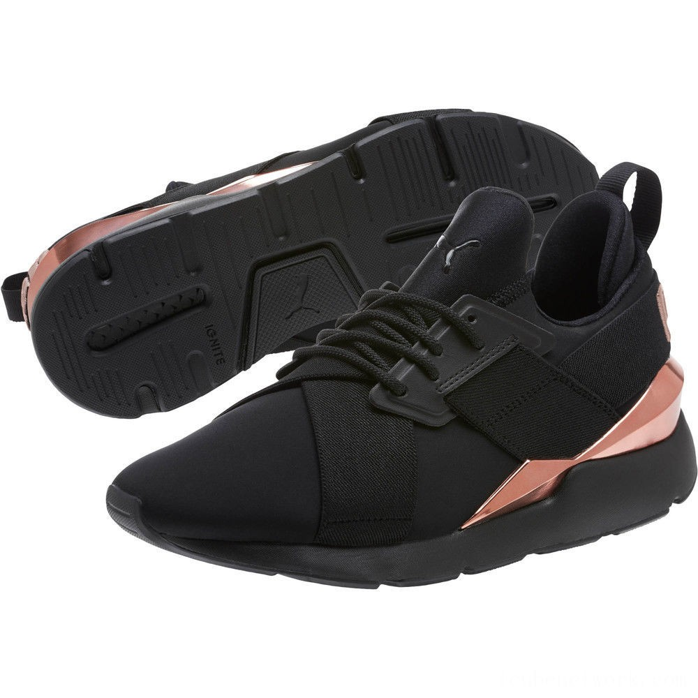 Puma Muse Metal Women's Sneakers Black-Rose Gold Outlet Sale
