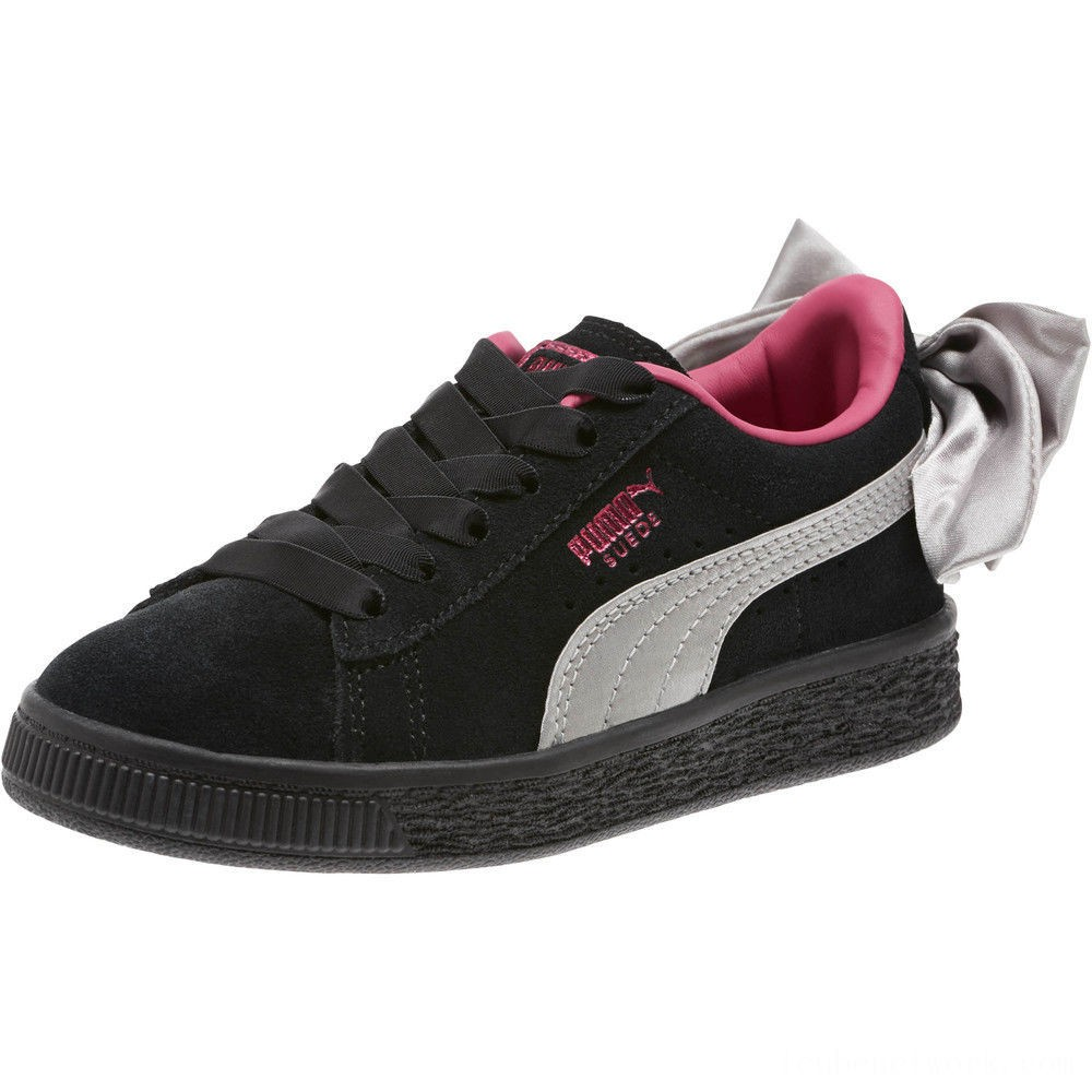 Black Friday 2020 Puma Suede Bow AC Sneakers PS Black-Fuchsia Purple Outlet Sale