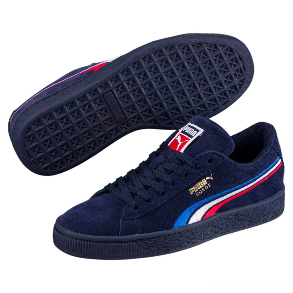 Black Friday 2020 Puma Suede Classic Multicolour Embroidery Kid's Sneakers Peacoat-White-Red-Blue Outlet Sale
