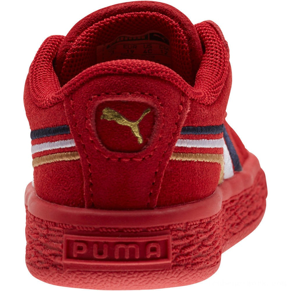 Puma Suede Classic Multicolour Embroidery Baby's Sneakers Red-Peacoat-White-Gold Outlet Sale