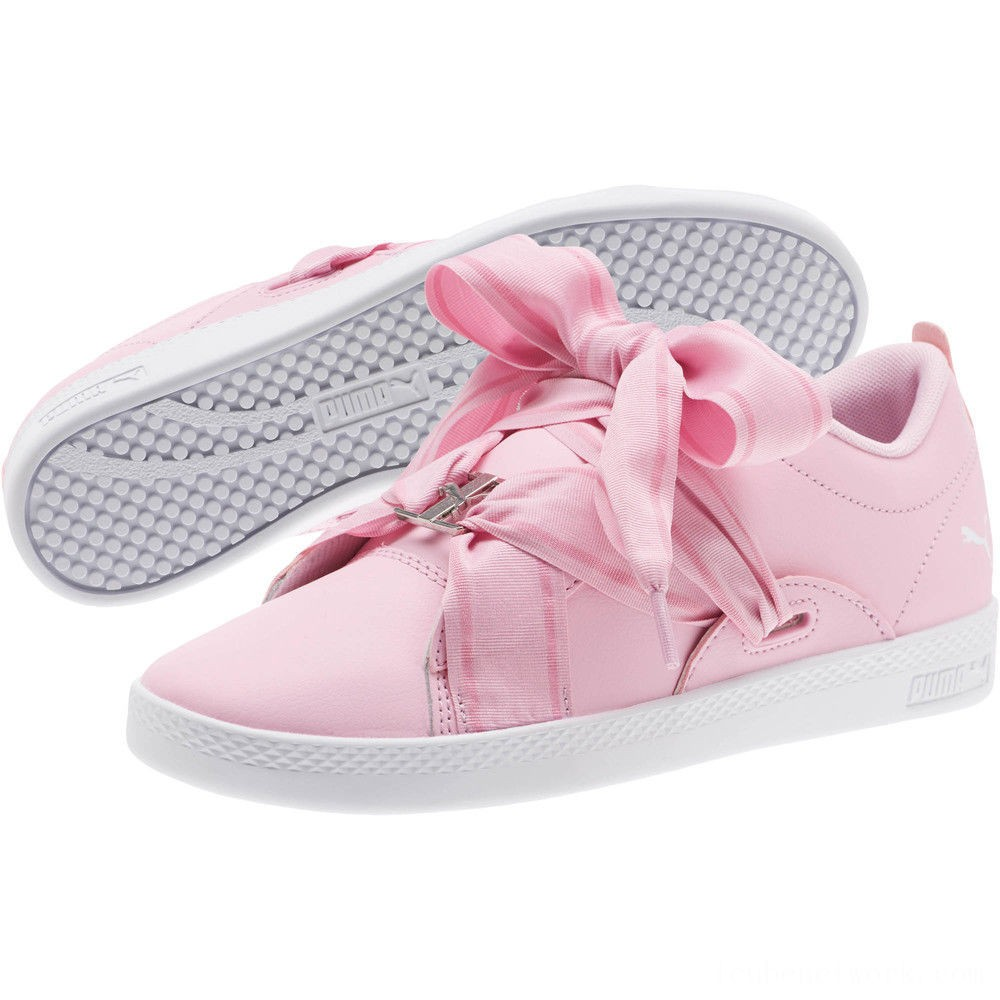 Black Friday 2020 Puma PUMA Smash Women's Buckle Sneakers Pale Pink- Silver-White Outlet Sale