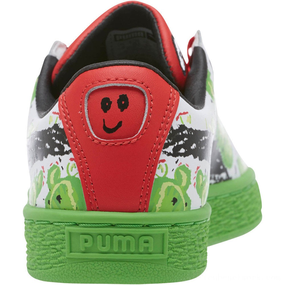 Black Friday 2020 Puma Basket Cactus Monster JR Sneakers Poinsettia-Green-White Outlet Sale