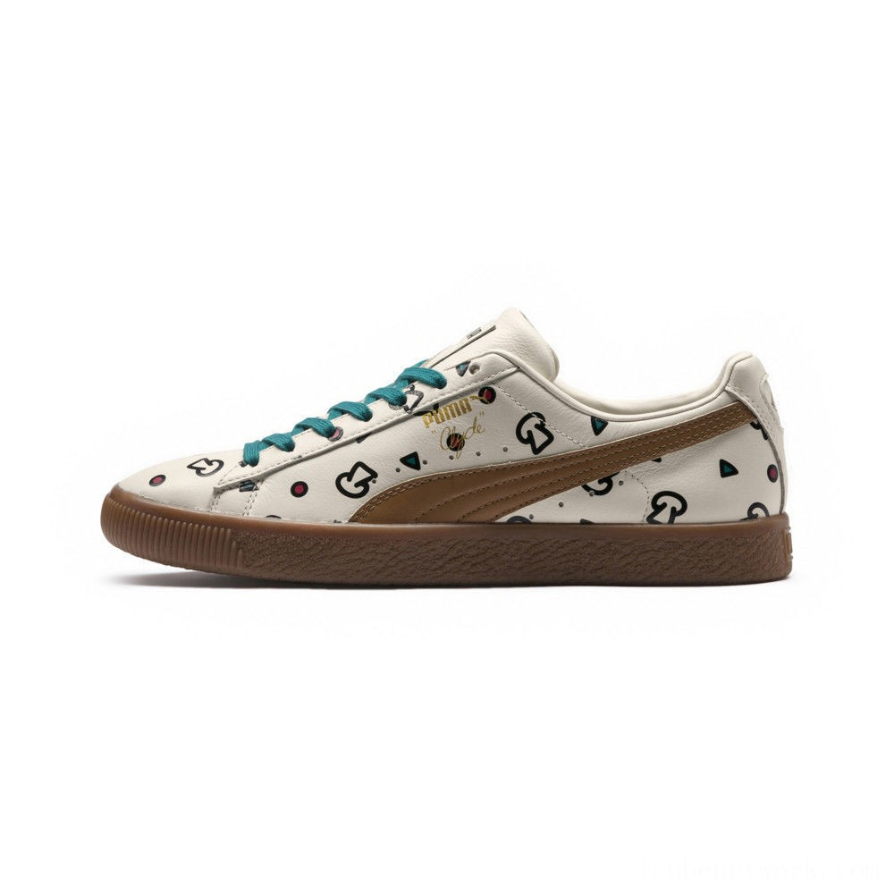 Black Friday 2020 Puma PUMA x TYAKASHA Clyde Graphic Sneakers Birch Outlet Sale