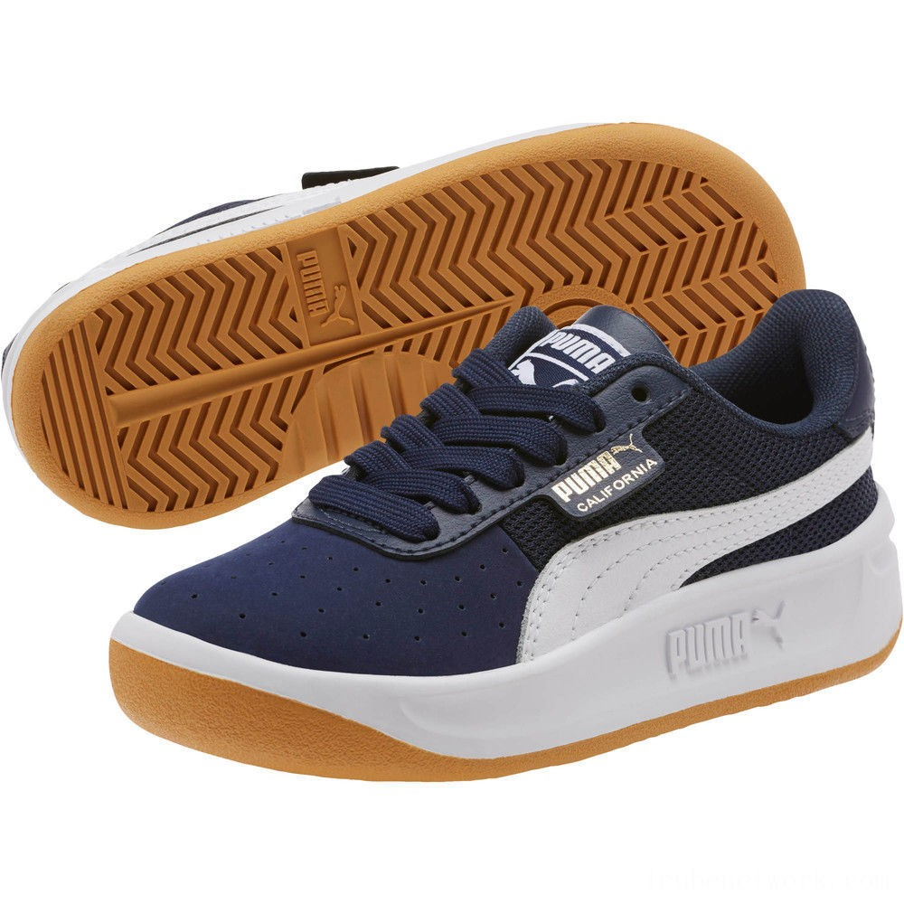 Black Friday 2020 Puma California Casual Sneakers PSPeacoat- White- Gold Outlet Sale