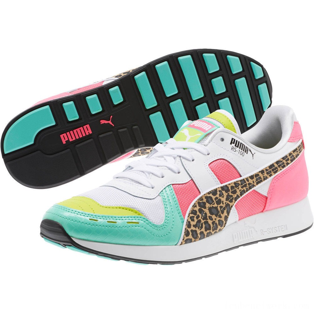 Puma RS-100 Party Croc Sneakers White- Green-KNOCKOUT PINK Outlet Sale