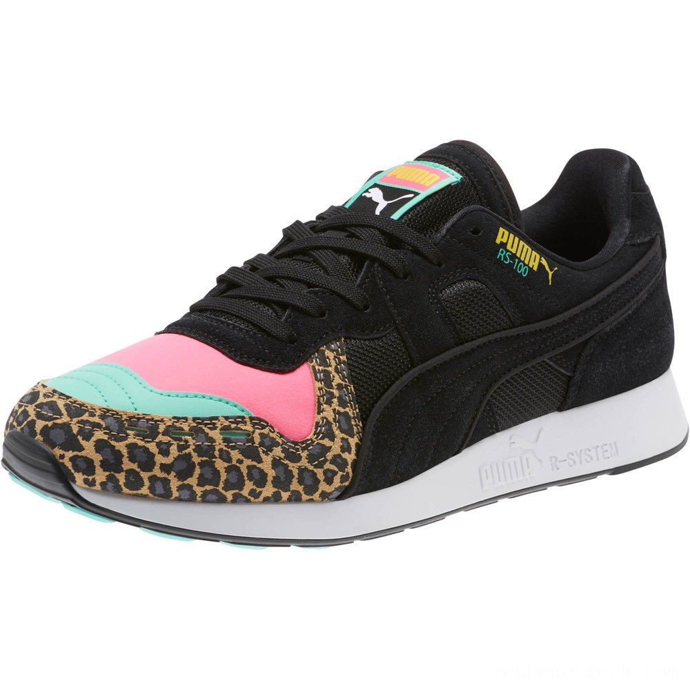 Puma RS-100 Party Cheetah Sneakers KNOCKOUT PINK- Black Outlet Sale