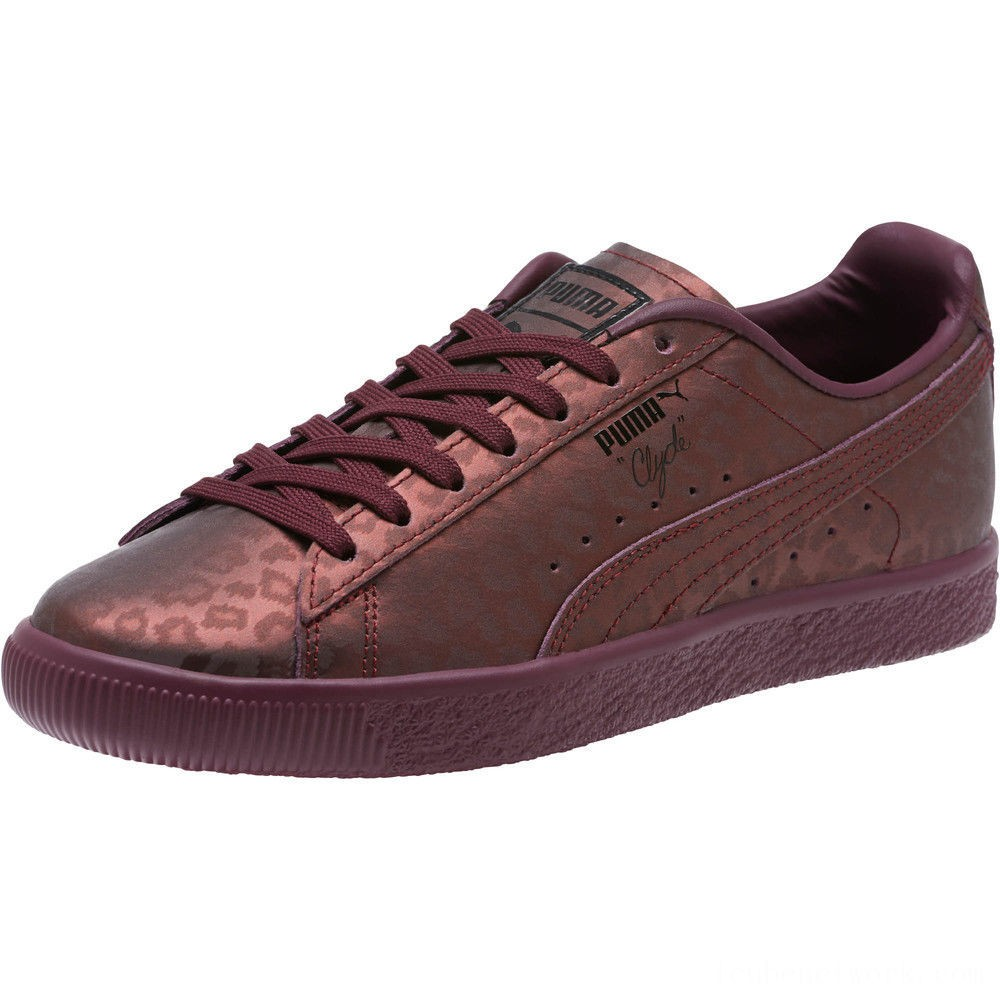Black Friday 2020 Puma Clyde Sheer Animal Women's Sneakers Fig- Black Outlet Sale