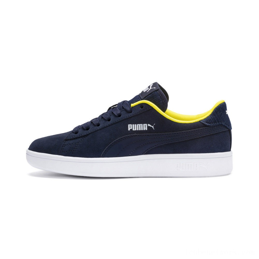 Black Friday 2020 Puma PUMA Smash v2 Denim Sneakers JRPeacoat- W-Blazing Yello Outlet Sale