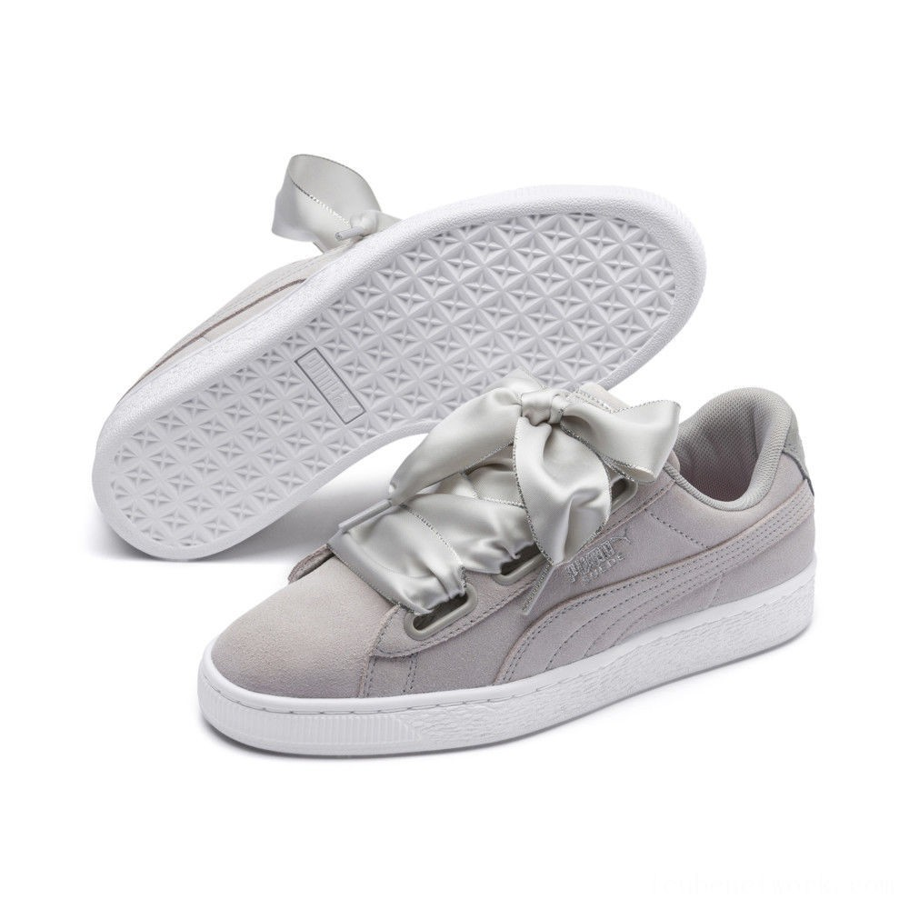 Black Friday 2020 Puma Suede Heart Galaxy Women's Sneakers Gray Violet- Silver Outlet Sale