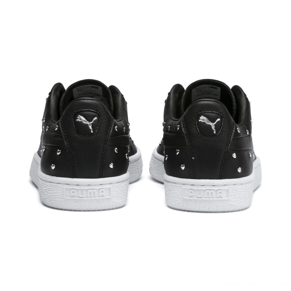 Puma Basket Studs Women's Sneakers Black- Silver Outlet Sale
