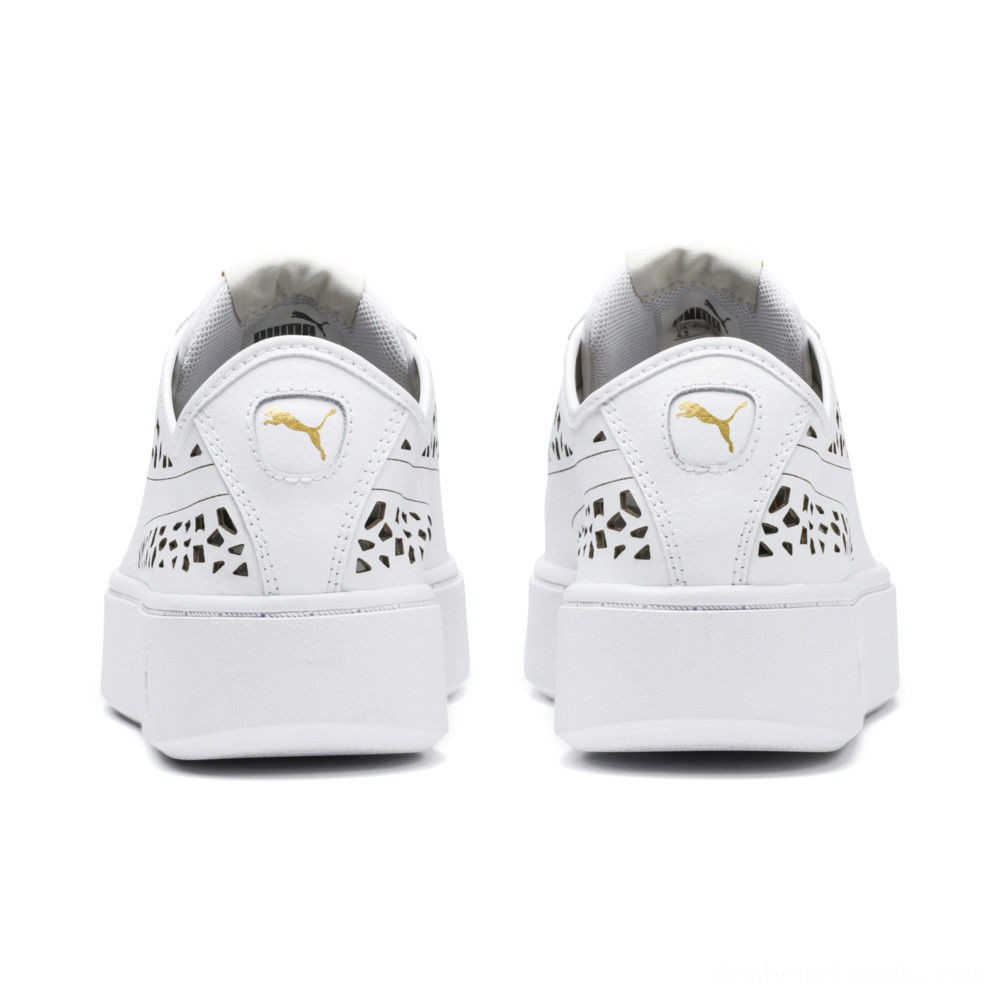 Black Friday 2020 Puma PUMA Vikky Stacked Laser Cut Women's Sneakers White- White Outlet Sale