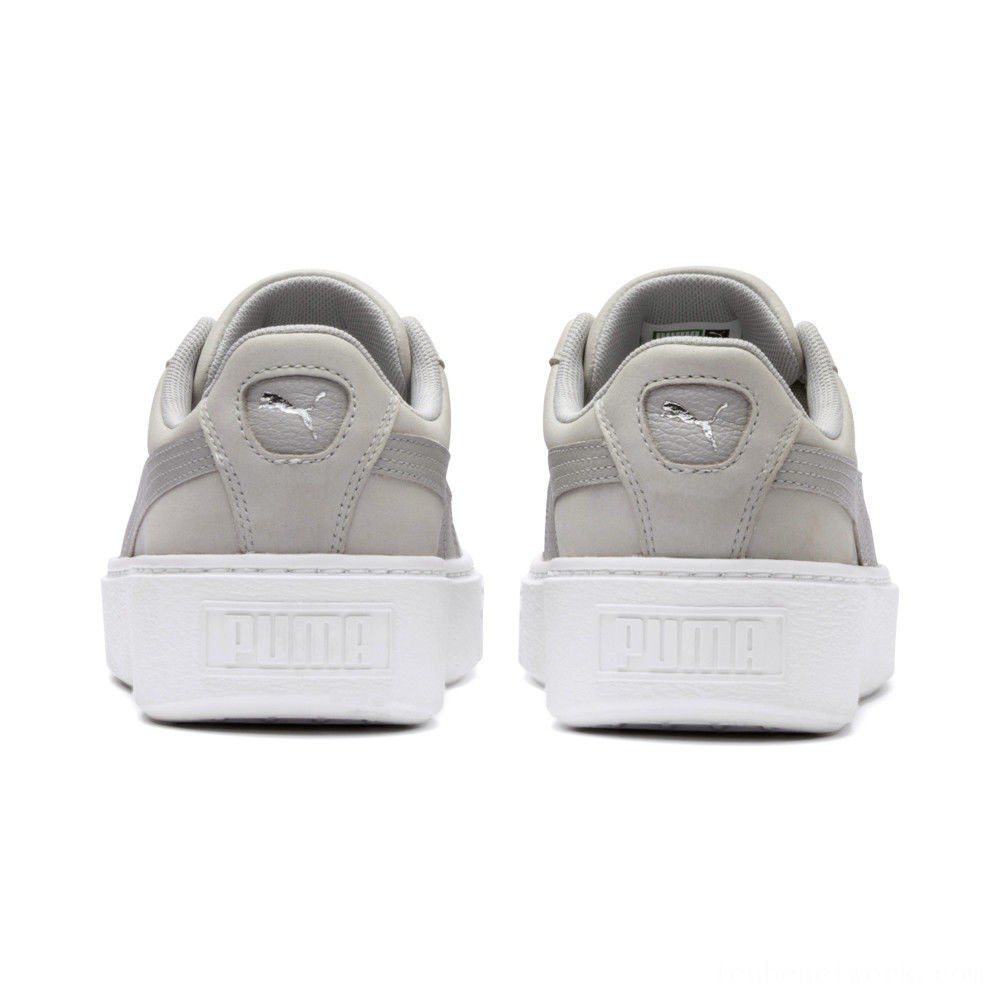 Puma Suede Platform Shimmer Women's Sneakers Gray Violet- White Outlet Sale