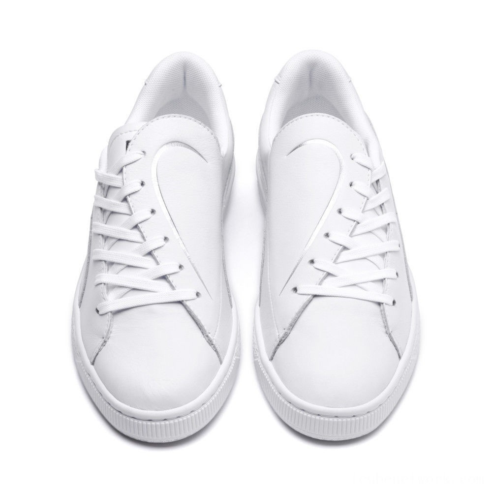 Black Friday 2020 Puma Basket Crush Emboss Heart Women's Sneakers White- Silver Outlet Sale