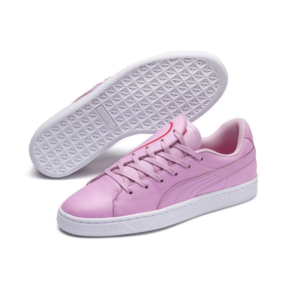 Black Friday 2020 Puma Basket Crush Emboss Heart Women's Sneakers Pale Pink-Hibiscus Outlet Sale
