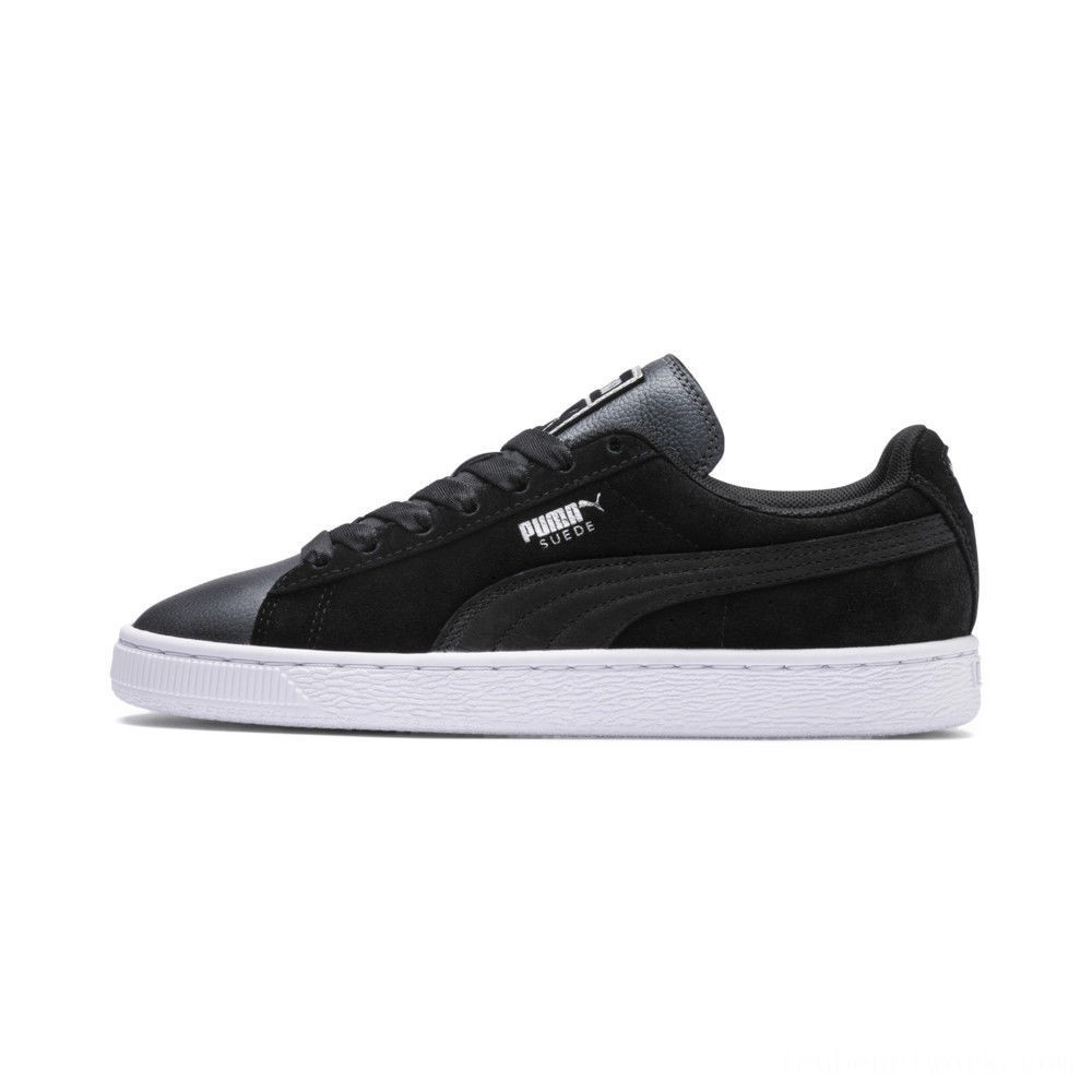 Black Friday 2020 Puma Suede Shimmer Women's Sneakers Black- White Outlet Sale