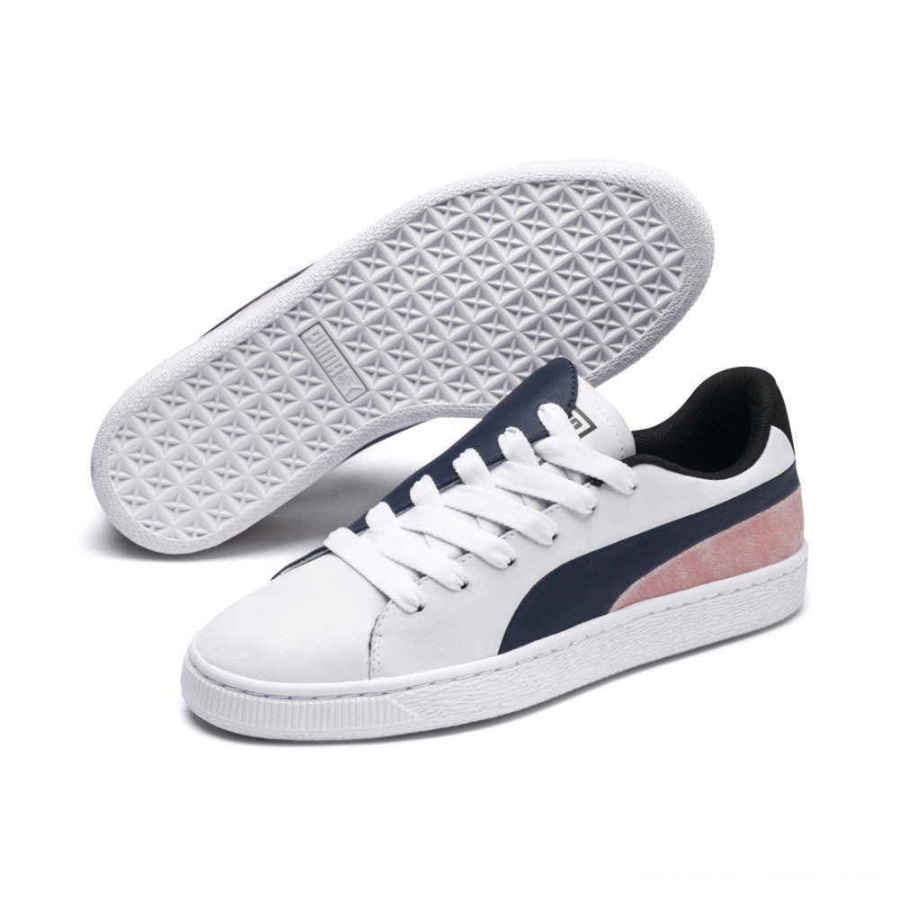 Black Friday 2020 Puma Basket Crush Paris Women's Sneakers Dress Blues- White Outlet Sale