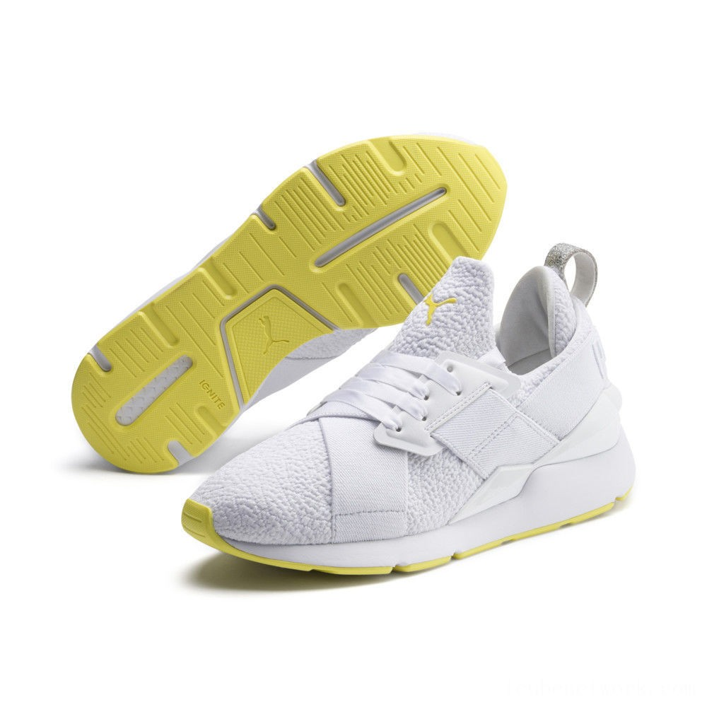 Black Friday 2020 Puma Muse Trailblazer Women's Sneakers White-Blazing Yellow Outlet Sale