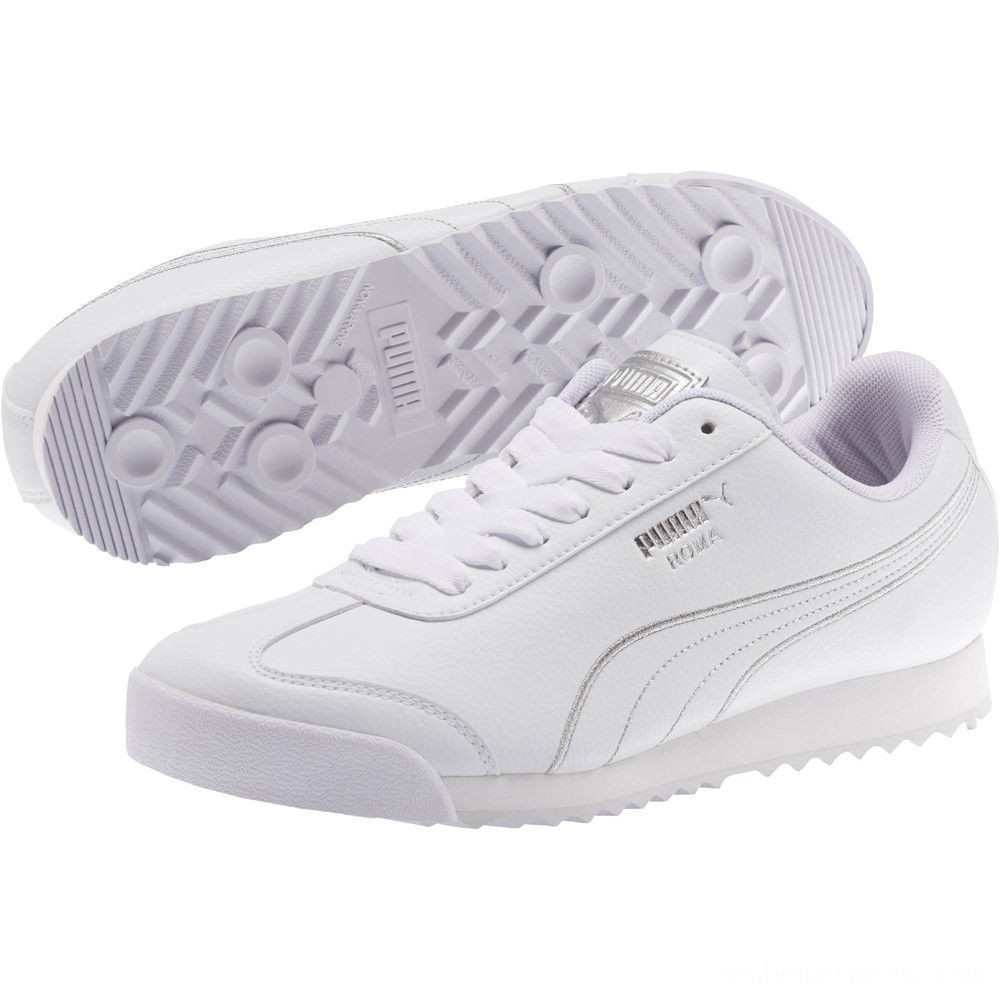 Black Friday 2020 Puma Roma Metallic Stitch Women's Sneakers White- Silver Outlet Sale