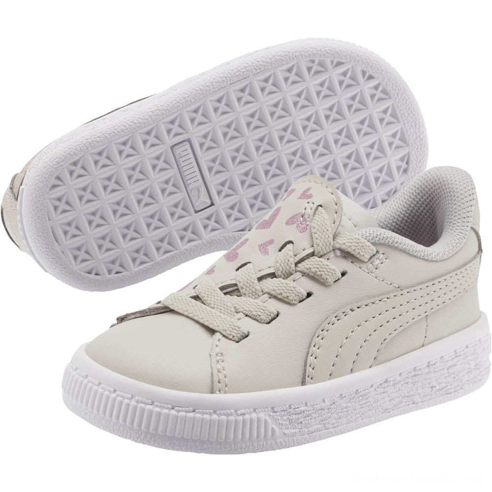 Puma Basket Crush Glitter Hearts AC Sneakers INFGray Violet- White Outlet Sale