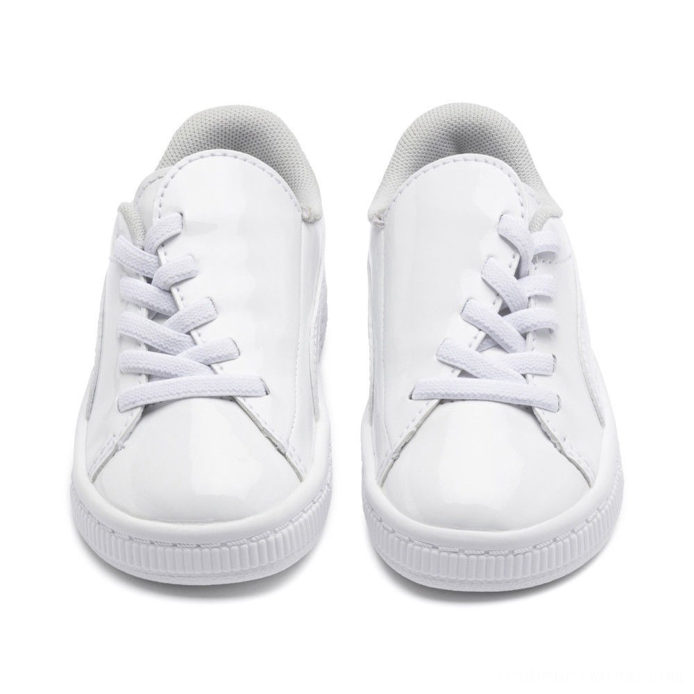 Puma Basket Crush Patent AC Sneakers INF White- White Outlet Sale