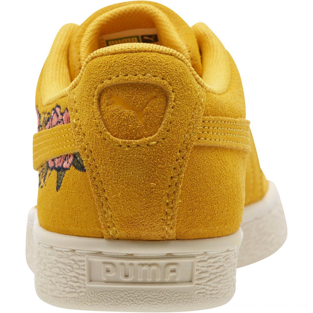 Black Friday 2020 Puma Suede Embroidered Floral Women's Sneakers Whisper White Outlet Sale