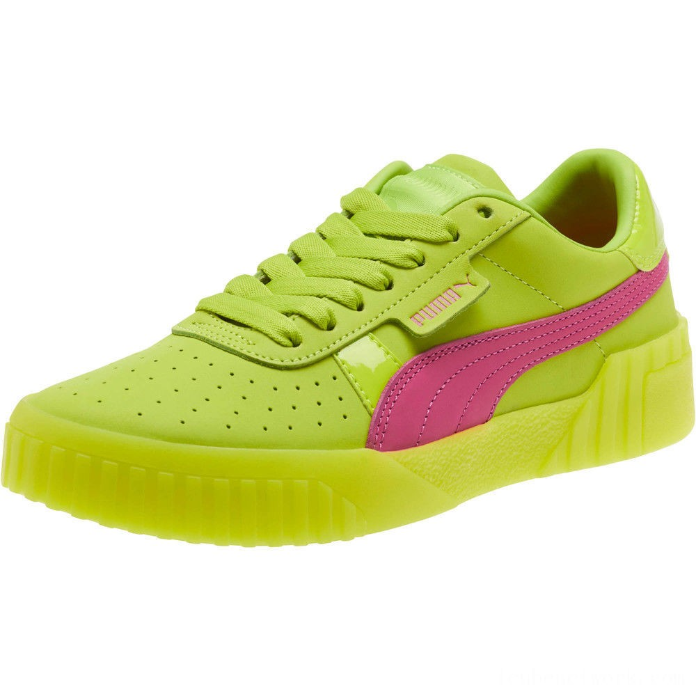 Black Friday 2020 Puma Cali 90 Women's Sneakers Limepunch-Fuchsia Purple Outlet Sale